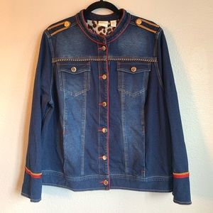 Zenergy by Chico's Denim Military Style Jacket